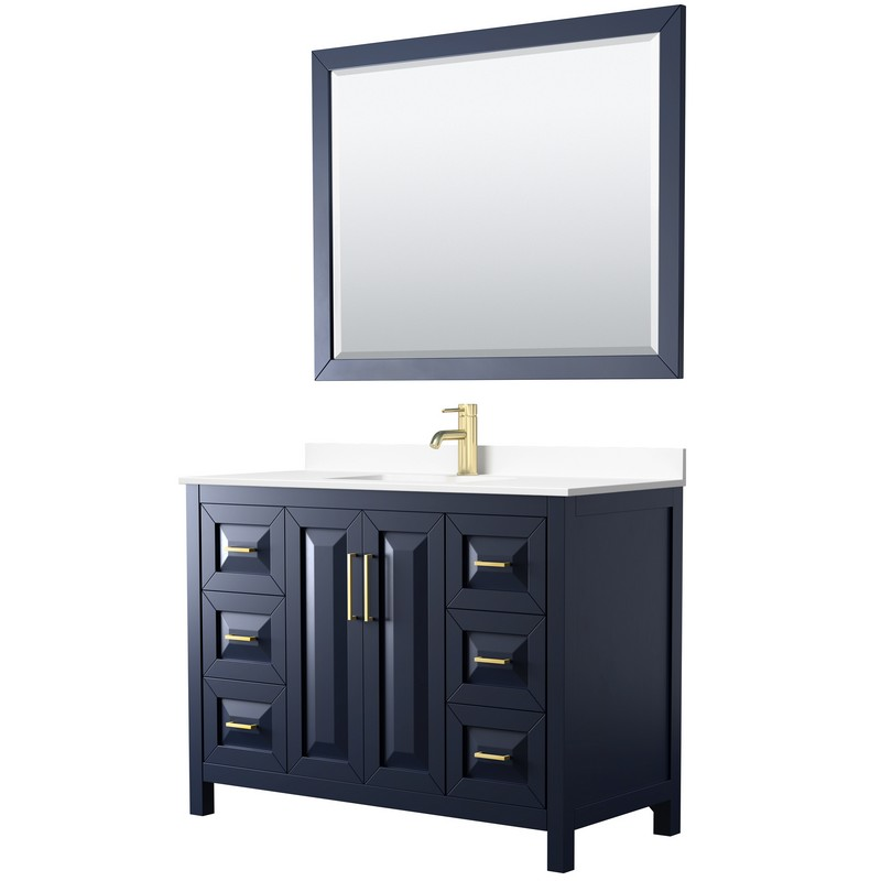 WYNDHAM COLLECTION WCV252548SBLWCUNSM46 DARIA 48 INCH SINGLE BATHROOM VANITY IN DARK BLUE WITH WHITE CULTURED MARBLE COUNTERTOP, UNDERMOUNT SQUARE SINK AND 46 INCH MIRROR