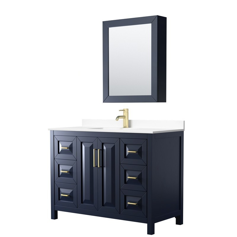 WYNDHAM COLLECTION WCV252548SBLWCUNSMED DARIA 48 INCH SINGLE BATHROOM VANITY IN DARK BLUE WITH WHITE CULTURED MARBLE COUNTERTOP, UNDERMOUNT SQUARE SINK AND MEDICINE CABINET