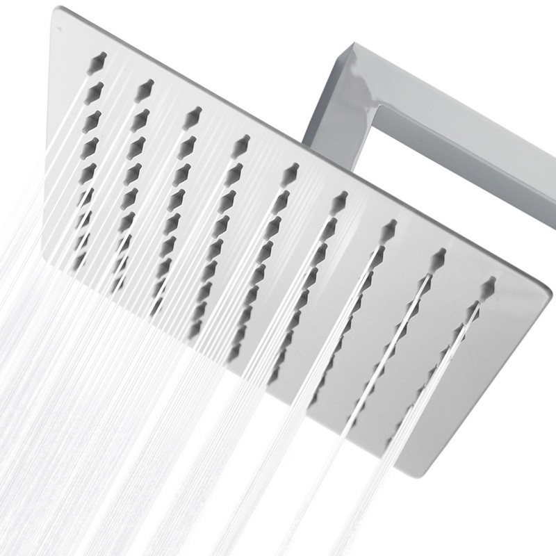 STYLISH H-453C 12 INCH STAINLESS STEEL SQUARE SINGLE SPRAY SHOWER HEAD HIGH PRESSURE RAINFALL