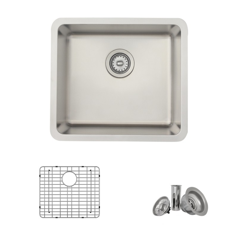 STYLISH S-408TG 19.5 X 18 INCH DUALMOUNT SINGLE BOWL 18 GAUGE STAINLESS STEEL KITCHEN SINK WITH GRID AND STRAINER