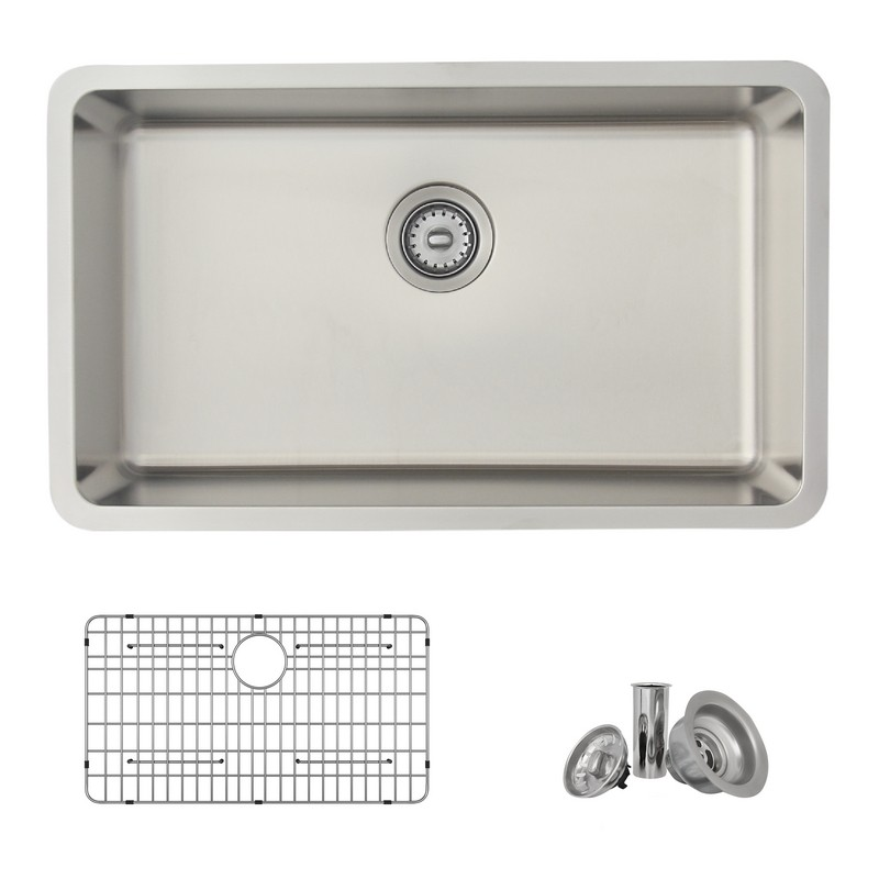 STYLISH S-411TG 29.5 X 18 INCH DUALMOUNT SINGLE BOWL 18 GAUGE STAINLESS STEEL KITCHEN SINK WITH GRID AND STRAINER