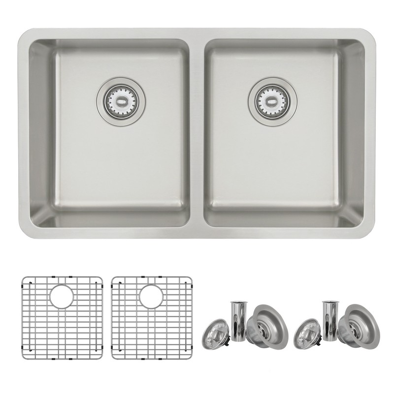 STYLISH S-414TG 30 X 18 INCH DUALMOUNT DOUBLE BOWL 18 GAUGE STAINLESS STEEL KITCHEN SINK WITH GRID AND STRAINER