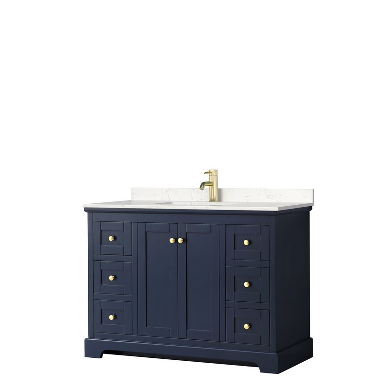 WYNDHAM COLLECTION WCV232348SBLC2UNSMXX AVERY 48 INCH SINGLE BATHROOM VANITY IN DARK BLUE WITH LIGHT-VEIN CARRARA CULTURED MARBLE COUNTERTOPAND UNDERMOUNT SQUARE SINK
