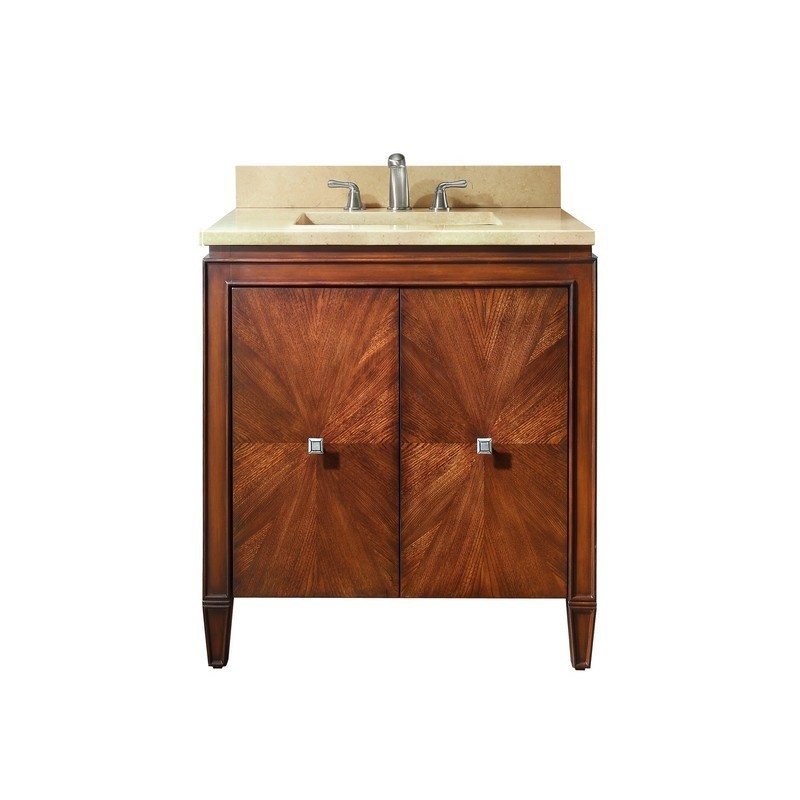 AVANITY BRENTWOOD-VS31-NW-D BRENTWOOD 31 INCH VANITY IN NEW WALNUT WITH CREMA MARFIL MARBLE TOP