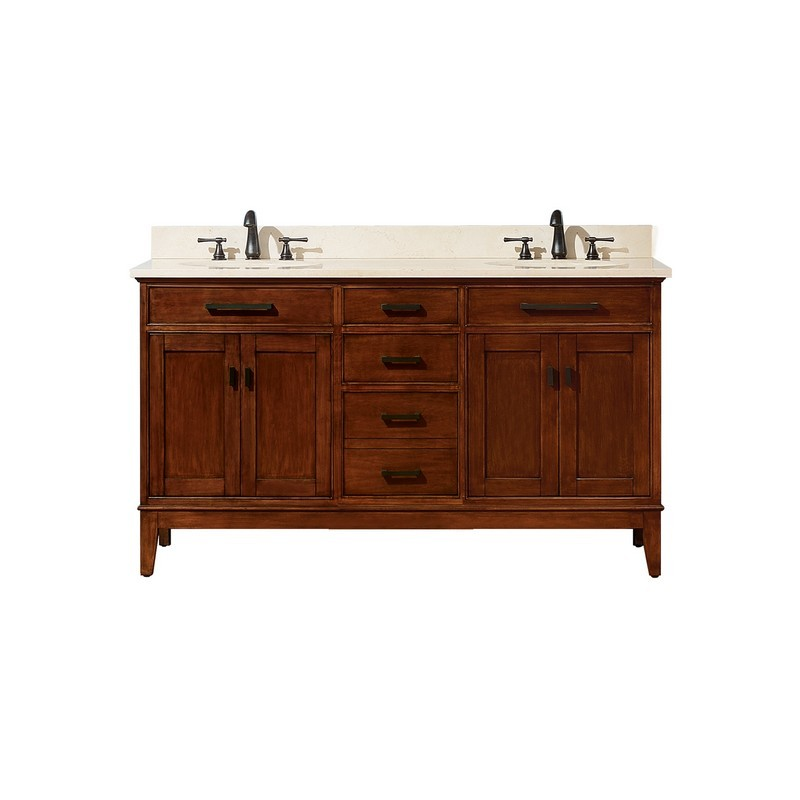AVANITY MADISON-VS60-TO-D MADISON 61 INCH DOUBLE VANITY IN TOBACCO WITH CREMA MARFIL MARBLE TOP