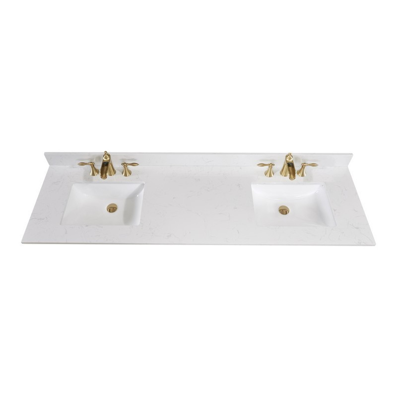Altair 62073 Ctp Jw 73 Inch Single Bathroom Vanity Top In Jazz White With Ceramic Rectangle Undermount Sink
