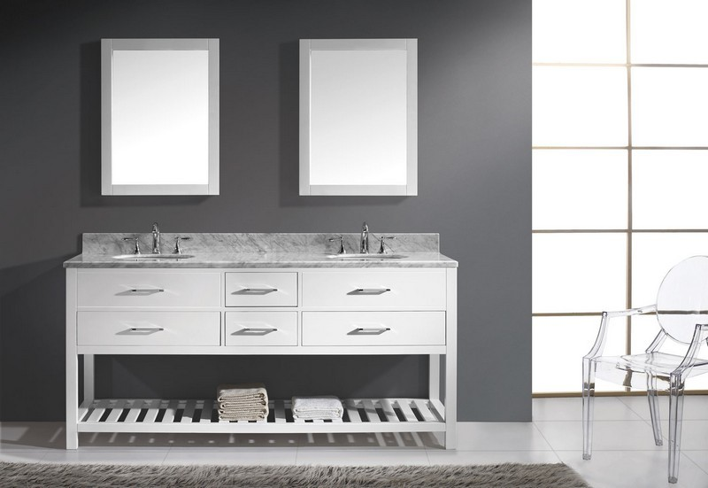 VITRU USA MD-2272-DWQRO CAROLINE ESTATE 72 INCH DOUBLE ROUND SINK VANITY WITH MIRRORS