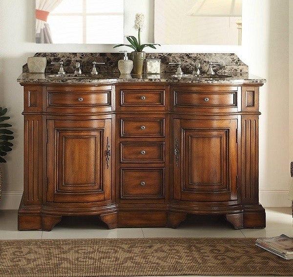 Chans Furniture 33130B-60 Kleinburg 60 Inch Chestnut Bathroom Double Sink Vanity, Brown Marble Countertop