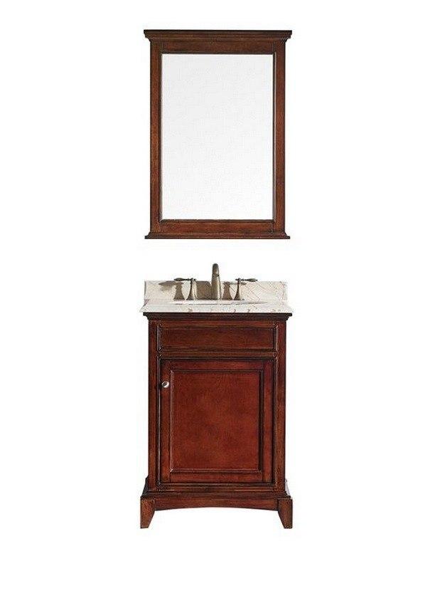 Eviva Evvn709 24tk Elite Stamford 24 Inch Brown Solid Wood Bathroom Vanity Set With Double Og Crema Marfil Marble Top