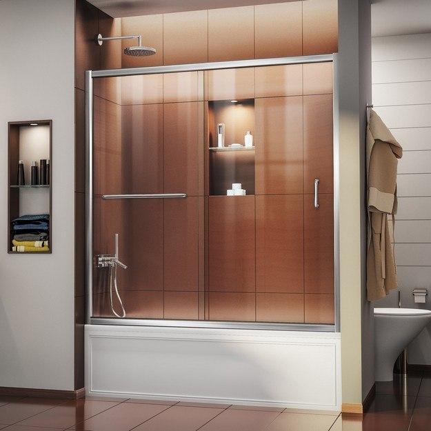 DREAMLINE SHDR-0960580 INFINITY-Z 56-60 W X 58 H FRAMELESS SLIDING TUB DOOR