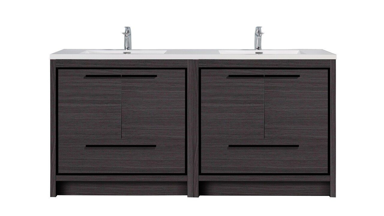 ALMA PREMIUM VANITIES ALI72 ALLIER 71 1/4 INCH FREE STANDING DOUBLE SINK BATH VANITY WITH INTEGRATED COUNTERTOP