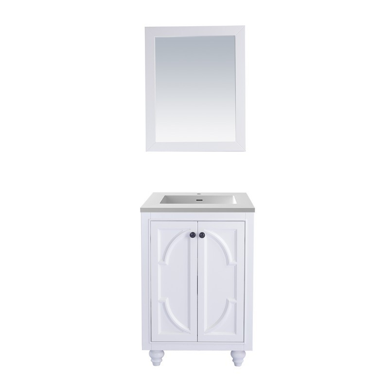 LAVIVA 313613-24W-MW ODYSSEY 24 INCH WHITE CABINET WITH MATTE WHITE STONE SOLID SURFACE COUNTERTOP