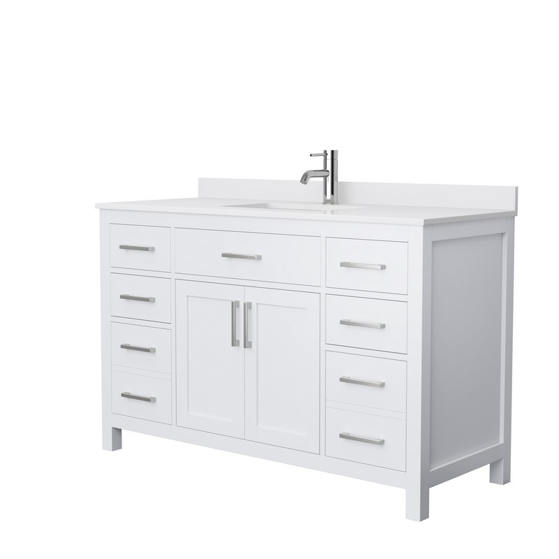 Wyndham Collection Wcg242454swhwcunsmxx Beckett 54 Inch Single Bathroom Vanity In White With White Cultured Marble