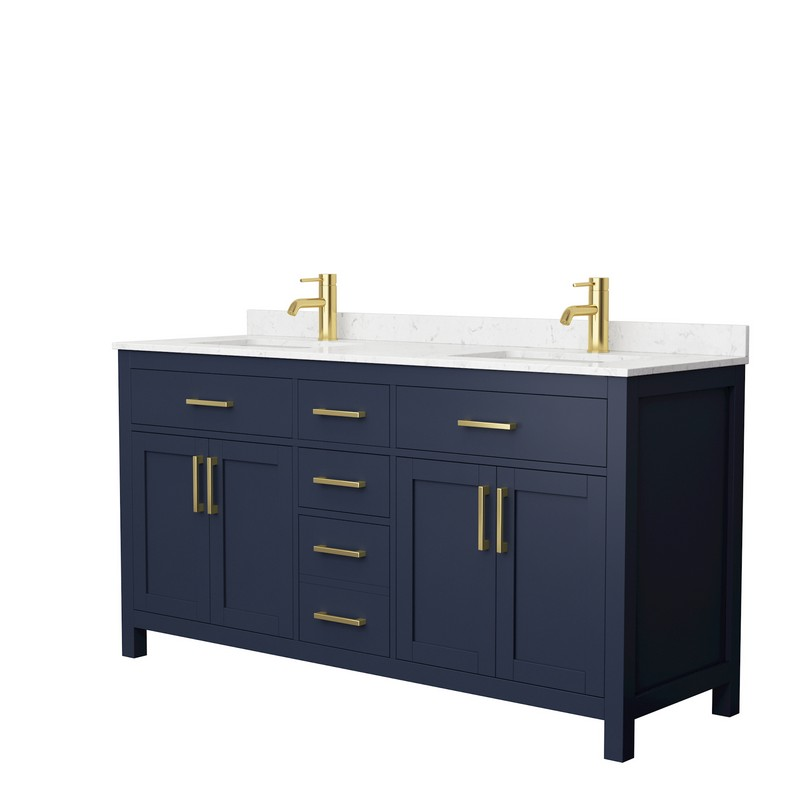 WYNDHAM COLLECTION WCG242466DBLCCUNSMXX BECKETT 66 INCH DOUBLE BATHROOM VANITY IN DARK BLUE WITH CARRARA CULTURED MARBLE COUNTERTOP AND UNDERMOUNT SQUARE SINKS