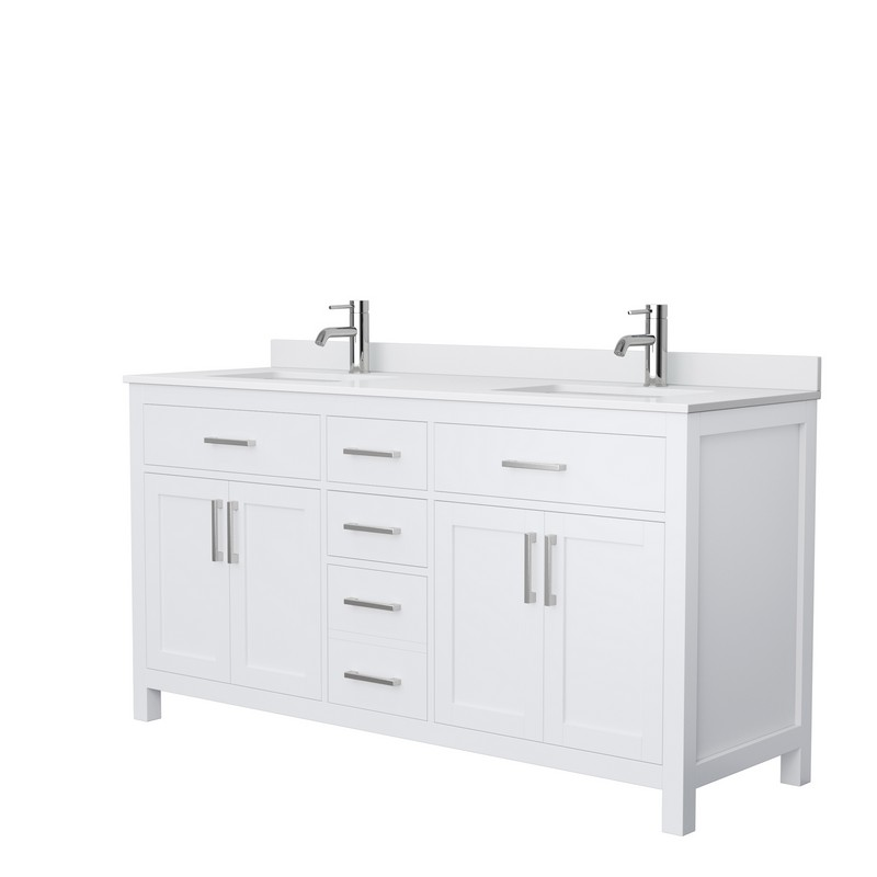 Wyndham Collection Wcg242466dwhccunsmxx Beckett 66 Inch Double Bathroom Vanity In White With Carrara Cultured Marble