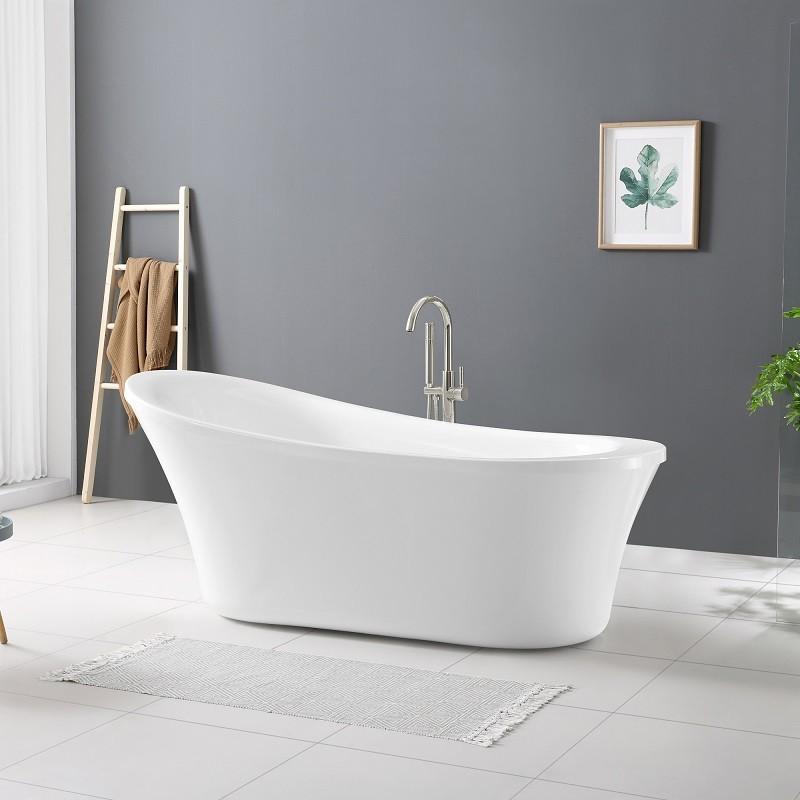 OVE DECORS 15BKH-RACH70-SATMO RACHEL 70 INCH WHITE ACRYLIC BATHTUB WITH INCLUDED SATIN NICKEL AND CHROME HARDWARE
