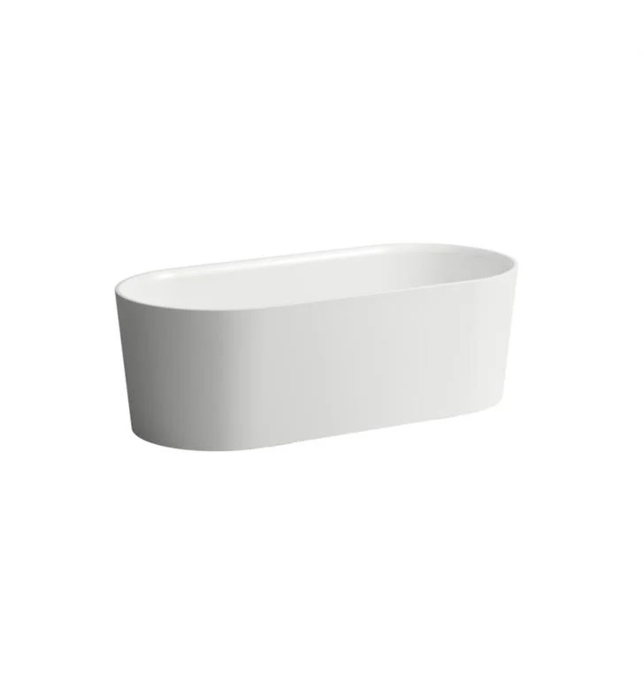 LAUFEN H230282000000U VAL 63 INCH SOLID SURFACE FREESTANDING BATHTUB WITH INTEGRATED OVERFLOW AND PUSH-OPENING DRAIN - WHITE