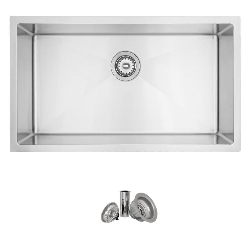 Stylish S 402 31 X 18 Inch Stainless Steel Single Basin Undermount Kitchen Sink With Strainer S 402 S402