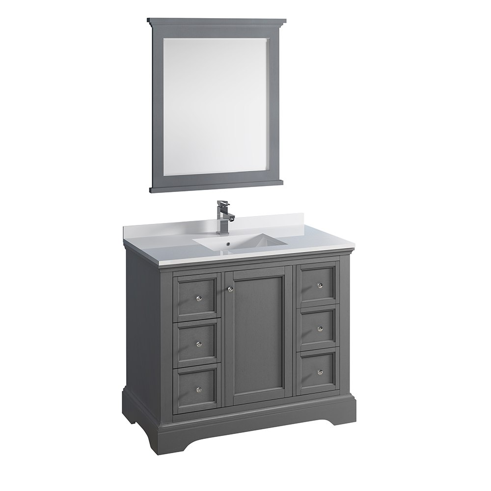 Fresca Fvn2440grv Windsor 40 Inch Gray Textured Traditional Bathroom Vanity With Mirror