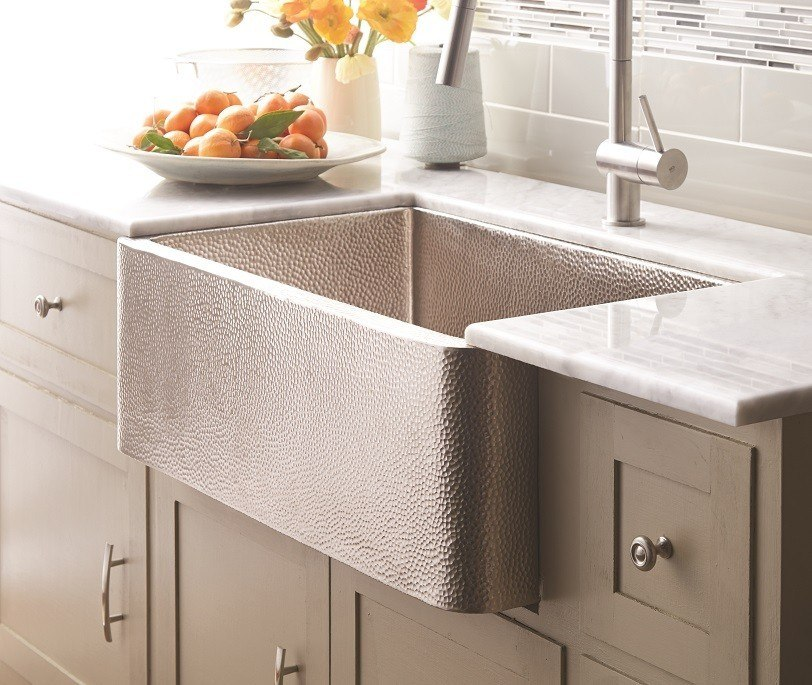 Native Trails CPK94 Farmhouse 30 Inch Single Basin Hand Hammered Apron-Front Undermount Copper Kitchen Sink