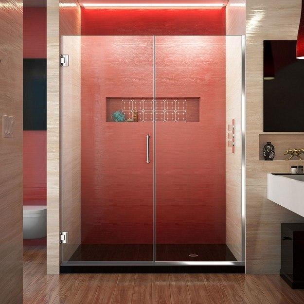 DREAMLINE SHDR-245357210 UNIDOOR PLUS 53 1/2 - 54 W X 72 H FRAMELESS HINGED SHOWER DOOR, CLEAR GLASS