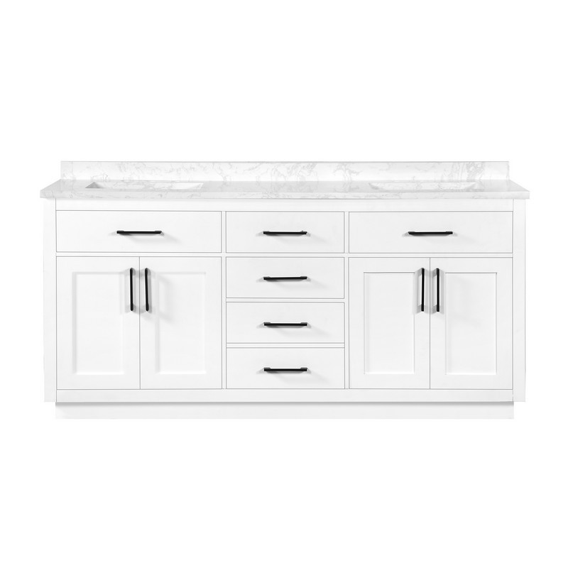 OVE DECORS 15VVAR-ATHE72-007EI ATHEA 72 INCH DOUBLE SINK BATHROOM VANITY WITH CULTURED MARBLE COUNTERTOP, WHITE FINISH WITH POWER BAR AND BLACK HARDWARE