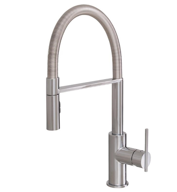 AQUABRASS ABFK3845N ZEST 18 7/8 INCH DECK MOUNT PULL-OUT DUAL STREAM MODE KITCHEN FAUCET WITH FLEXIBLE SPRING HOSE