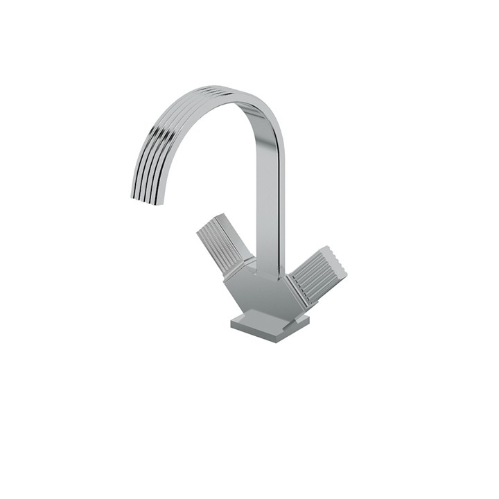 AQUABRASS ABFB34014 TOSCA 11 1/8 INCH SINGLE HOLE DECK MOUNT BATHROOM FAUCET WITH METAL HANDLES
