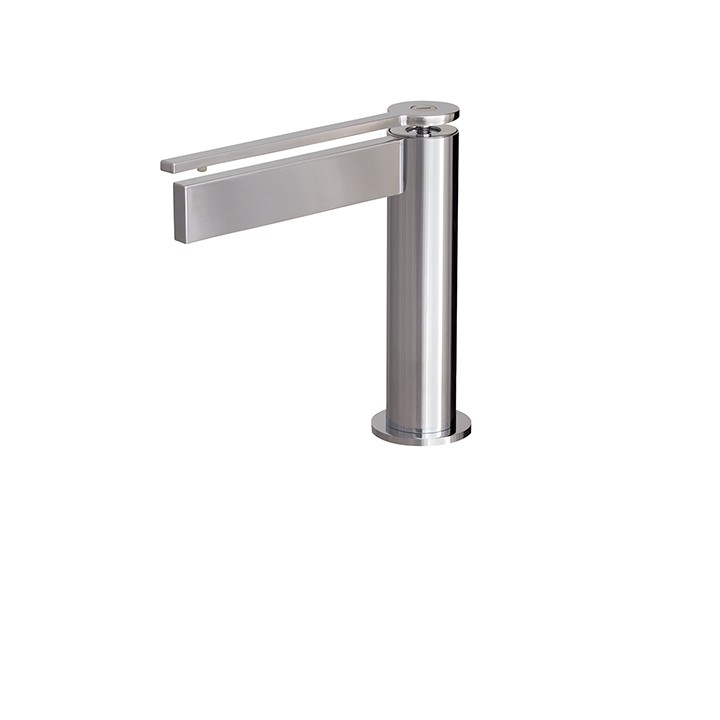 AQUABRASS ABFB51014RD TIME 6 3/8 INCH SINGLE HOLE DECK MOUNT BATHROOM FAUCET WITH RED LEVER