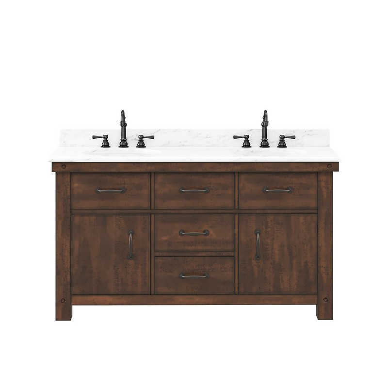 WATER-CREATION AB60CW03RS-000TL1203 ABERDEEN 60 INCH DOUBLE SINK CARRARA WHITE MARBLE COUNTERTOP VANITY IN RUSTIC SIERRA WITH HOOK FAUCETS