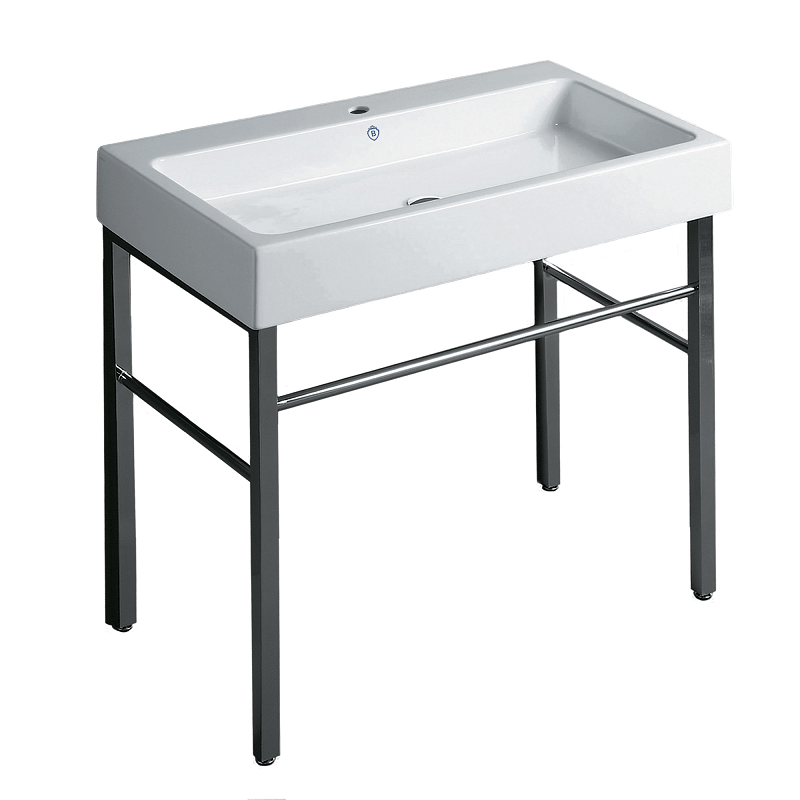 WHITEHAUS B-U90-DUCG1-A09-1  BRITANNIA 35.75 INCH RECTANGULAR SINK CONSOLE WITH FRONT TOWEL BAR AND SINGLE FAUCET HOLE DRILL