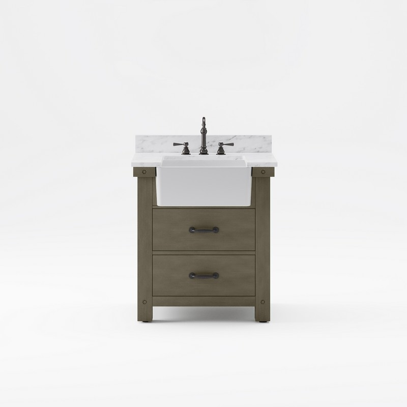 WATER-CREATION PY30CW03GG-000000000 PAISLEY 30 INCH SINGLE SINK CARRARA WHITE MARBLE COUNTERTOP VANITY IN GRIZZLE GRAY