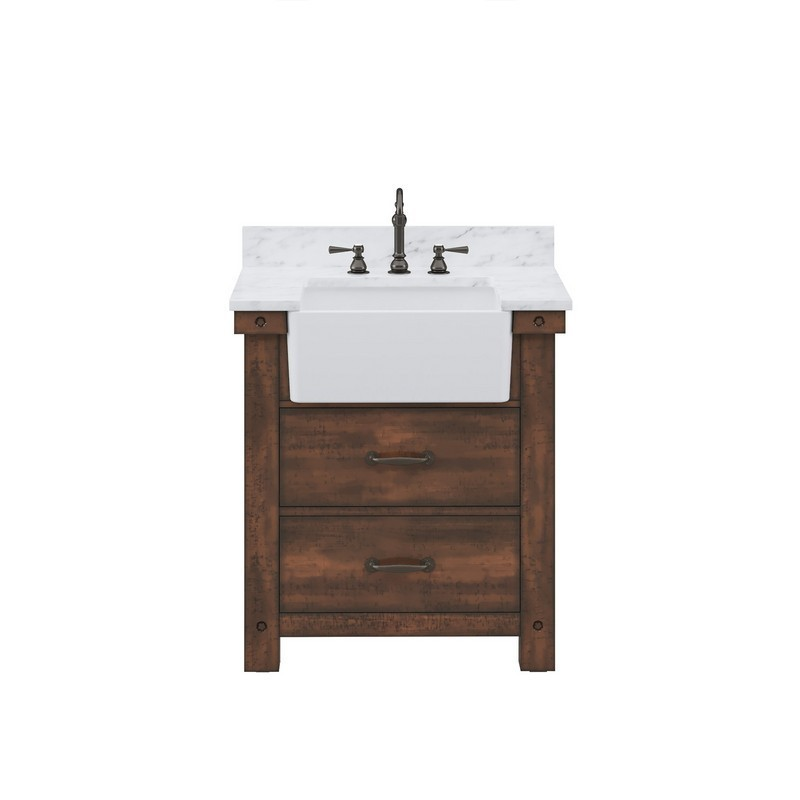 WATER-CREATION PY30CW03RS-000TL1203 PAISLEY 30 INCH SINGLE SINK CARRARA WHITE MARBLE COUNTERTOP VANITY IN RUSTIC SIENNA WITH HOOK FAUCET