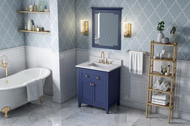 HARDWARE RESOURCES VKITCHA30R JEFFREY ALEXANDER 2ND GEN CHATHAM 30 INCH VANITY WITH CARRARA MARBLE VANITY TOP AND UNDERMOUNT RECTANGLE BOWL