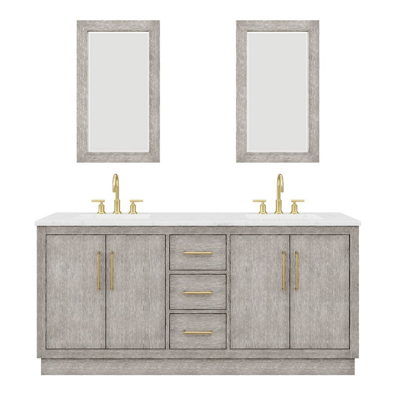 WATER-CREATION HU72CW06GK-R21BL1406 HUGO 72 INCH DOUBLE SINK CARRARA WHITE MARBLE COUNTERTOP VANITY IN GREY OAK WITH GOOSENECK FAUCETS AND MIRRORS