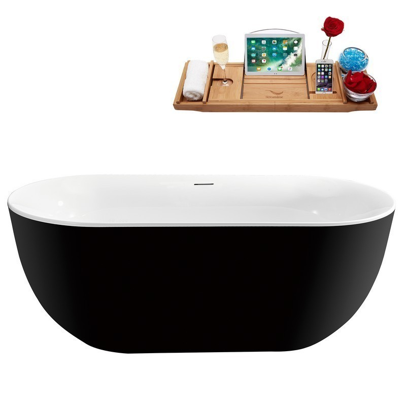 STREAMLINE N811BL 59 INCH FREESTANDING TUB AND TRAY WITH INTERNAL DRAIN IN GLOSSY BLACK