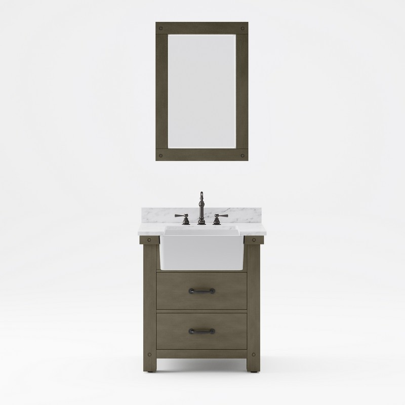 WATER-CREATION PY30CW03GG-A24TL1203 PAISLEY 30 INCH SINGLE SINK CARRARA WHITE MARBLE COUNTERTOP VANITY IN GRIZZLE GRAY WITH HOOK FAUCET AND MIRROR