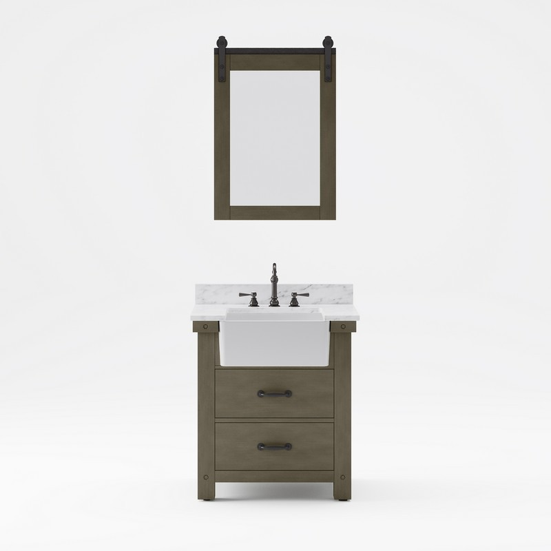 WATER-CREATION PY30CW03GG-P24TL1203 PAISLEY 30 INCH SINGLE SINK CARRARA WHITE MARBLE COUNTERTOP VANITY IN GRIZZLE GRAY WITH HOOK FAUCET AND MIRROR