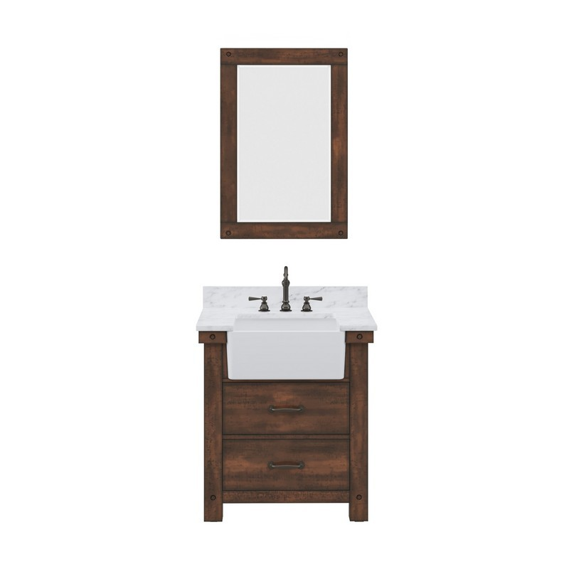 WATER-CREATION PY30CW03RS-A24TL1203 PAISLEY 30 INCH SINGLE SINK CARRARA WHITE MARBLE COUNTERTOP VANITY IN RUSTIC SIENNA WITH HOOK FAUCET AND MIRROR