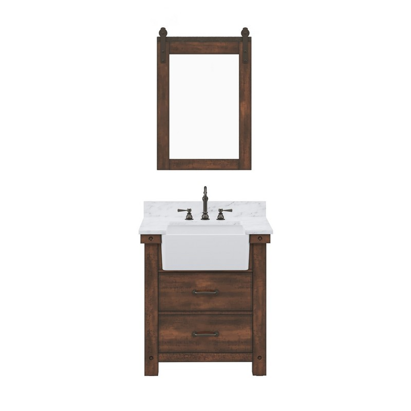 WATER-CREATION PY30CW03RS-P24TL1203 PAISLEY 30 INCH SINGLE SINK CARRARA WHITE MARBLE COUNTERTOP VANITY IN RUSTIC SIENNA WITH HOOK FAUCET AND MIRROR