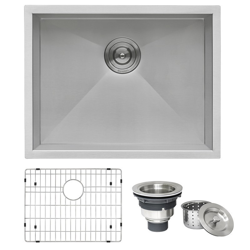 RUVATI RVH7100 NESTA 23 X 18 INCH UNDERMOUNT 16 GAUGE ZERO RADIUS STAINLESS STEEL SINGLE BOWL KITCHEN SINK