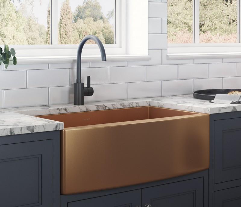 Ruvati Rvh9733cp 33 Inch Single Bowl Apron Front Farmhouse Kitchen Sink In Copper Tone Matte Bronze