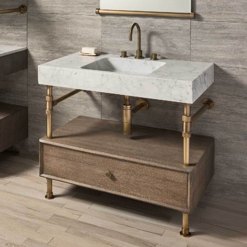 STONE FOREST TD-TRR-36 TERRA 35 7/8 INCH BATHROOM SINK WITH ELEMENTAL CONSOLE VANITY
