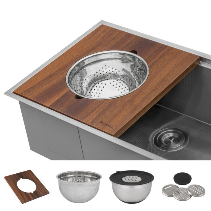 RUVATI RVA1288 WOOD PLATFORM WITH MIXING BOWL AND COLANDER FOR WORKSTATION SINKS