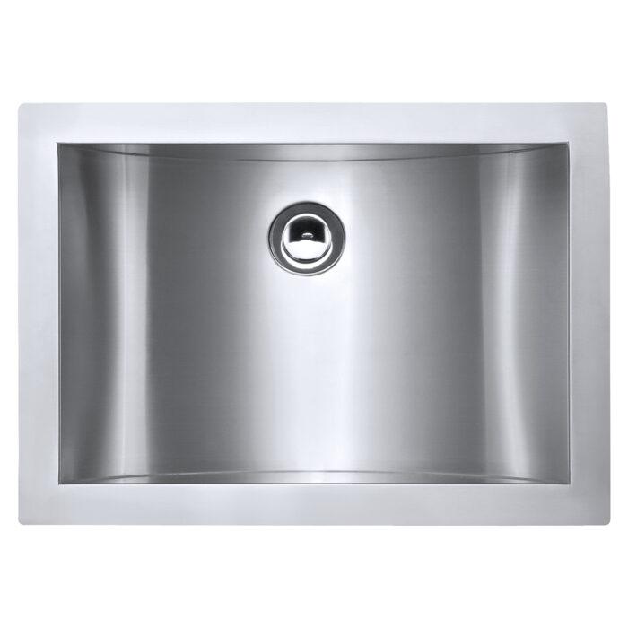 RUVATI RVH6107 ARIASO 18 X 13 INCH UNDERMOUNT BRUSHED STAINLESS STEEL RECTANGULAR BATHROOM SINK