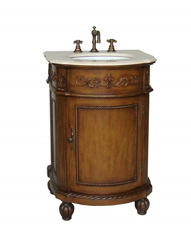 Chans Furniture Bwv 048m Camelot 24 Inch Brown Bathroom Sink Vanity Cream Marble Countertop