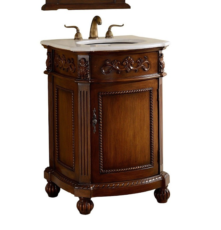 CHANS FURNITURE BWV-048W CAMELOT 24 INCH BROWN BATHROOM SINK VANITY, WHITE MARBLE COUNTERTOP