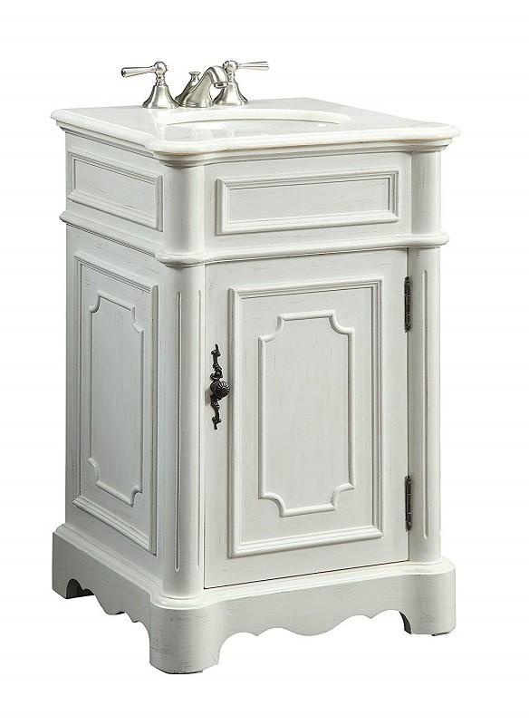 Chans Furniture Cf 3006w Aw Teega 21 Inch Antique White Bathroom Sink Vanity