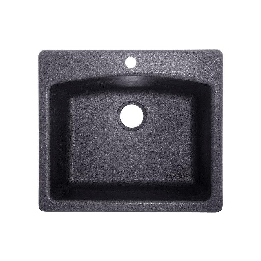 Franke ELG61091-GRA Ellipse 25 Inch Graphite Single-Basin Granite Dual Mount 4-Hole Kitchen Sink