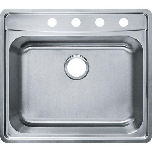 Franke EVSCG804-18 Evolution 25-1/2 Inch Top Mount Single Bowl Polished Satin Kitchen Sink - 4 Faucet Hole